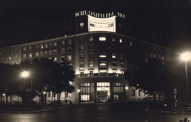 The Castellana Hilton Hotel At Night In The Sixties